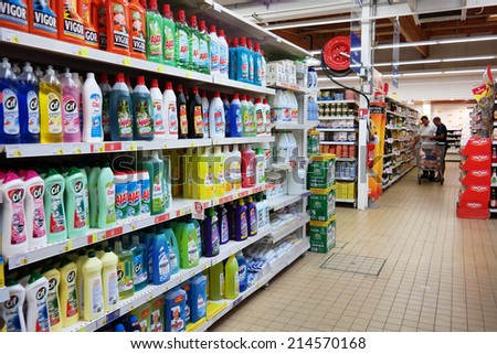 PLENEUF VAL ANDRE, FRANCE - JULY 21: Market aisle filled with cleaning products in a E.Leclerc hypermarket on July 21, 2014 in pleneuf-val-andre, France  - stock photo