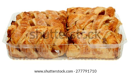 plenty of apple pies in tray isolated on white