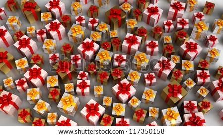 Plenty of Christmas gift boxes - stock photo