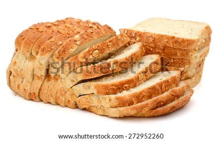 plenty of oat bread slices isolated on white
