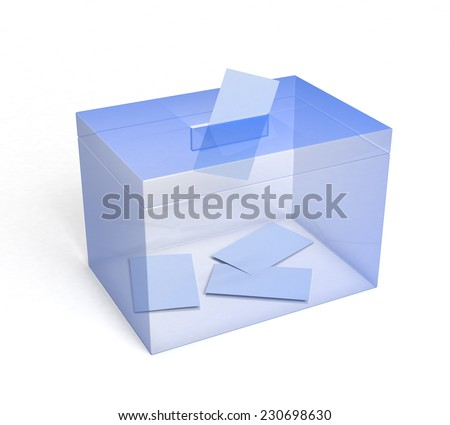 Plexiglas Ballot Box with Paper Inserted... 3D rendered. - stock photo