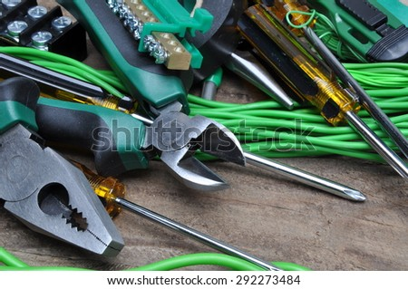 Pliers tools and component for electrical installation - stock photo