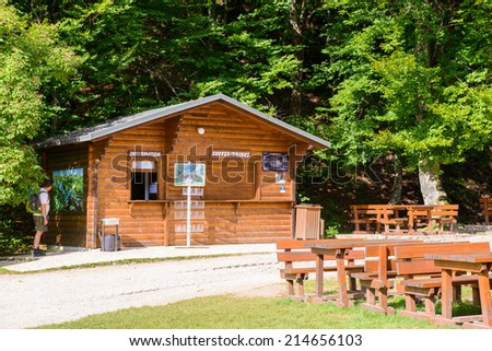 PLITVICE LAKE NATIONAL PARK, CROATIA - AUG 19, 2014: Restaurant in the Plitvice Lakes National Park, which is a UNESCO World Heritage site