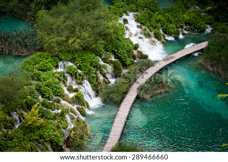 Plitvice lakes and waterfalls in Croatia - stock photo