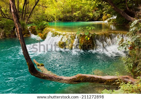 Plitvice lakes in Croatia - nature travel background - stock photo