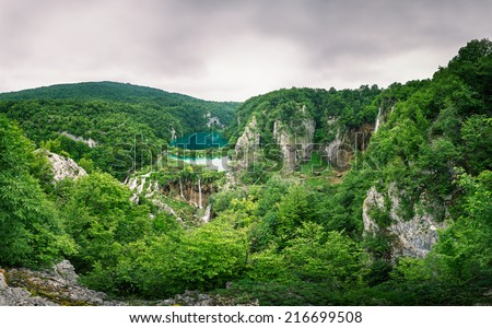 Plitvice Lakes National Park Waterfalls in the Misty Morning, Croatia - stock photo