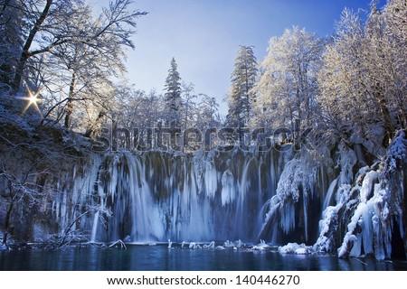 Plitvice lakes of Croatia (Hrvatska) - national park in winter - stock photo