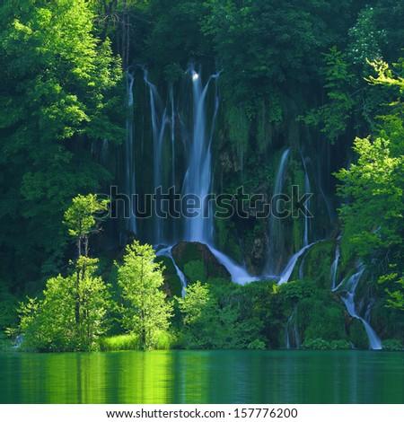 Plitvice lakes of Croatia (Hrvatska) - national park summer - stock photo