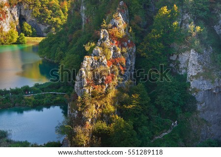 Plitvice national park - biggest attraction - gorgeous view of lower lakes in autumn
