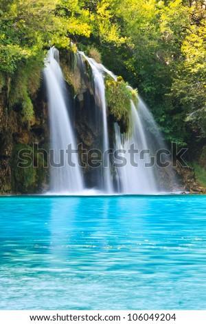 Plitvice Park Waterfall in Croatia, UNESCO World Heritage site - stock photo