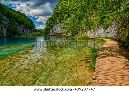 Plitvitce Lakes National Parke Reserve Pathway in Croatia
