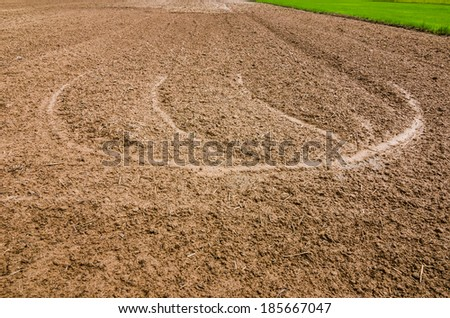 Ploughed field in the rice field in countryside view Thailand