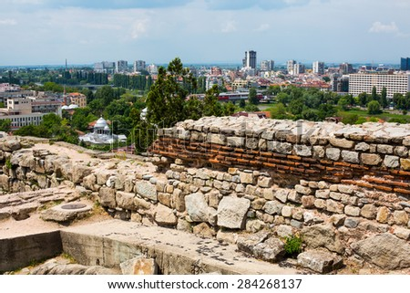 Plovdiv, Bulgaria - May 10, 2015:  Cityscape View of Plovdiv city, Bulgaria and the ruins of the old fortress