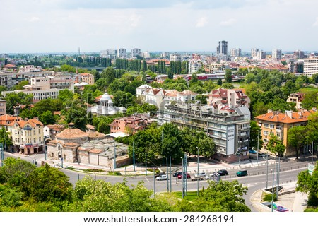 Plovdiv, Bulgaria - May 10, 2015: Cityscape View of Plovdiv city, Bulgaria from the old fortress