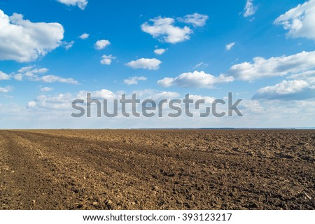 Plowed agricultural arable land