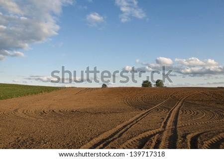 Plowed field - stock photo