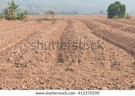 Plowed field; Furrows in the soil; Agriculture - stock photo