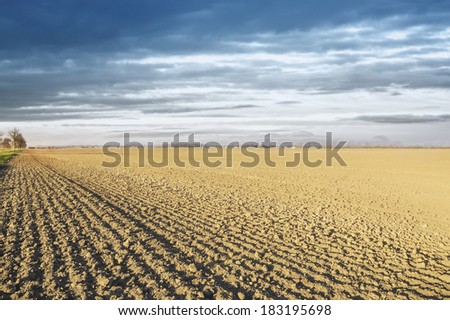 plowed field in drought, landscape, background  - stock photo