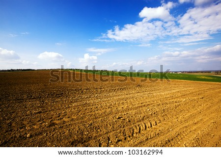 plowed for landing of plants an agricultural field