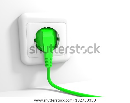 Plug and socket. 3D illustration.