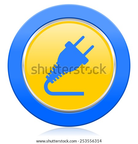 plug blue yellow icon electricity sign  - stock photo