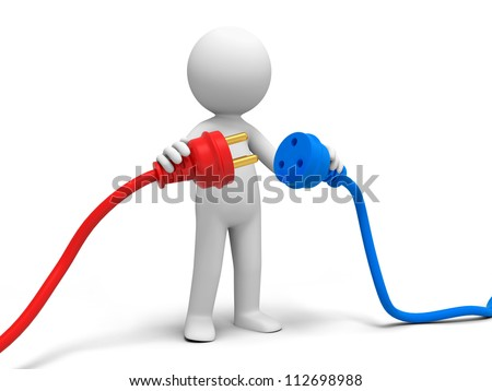 Plug/powder cord/a person connecting plugs - stock photo