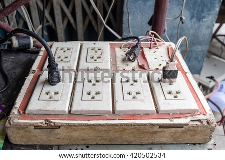 Plug socket with cable line old obsolete - stock photo