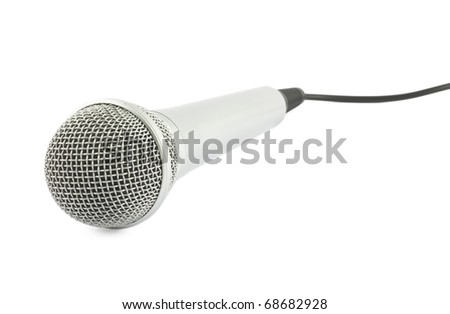 Plugged in Microphone on white background