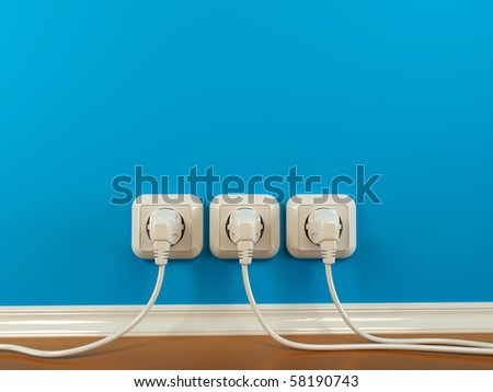 Plugs and Socket. Abstract background. 3d - stock photo