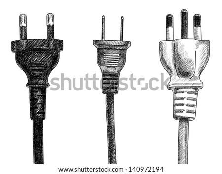 plugs drawing on white background - stock photo