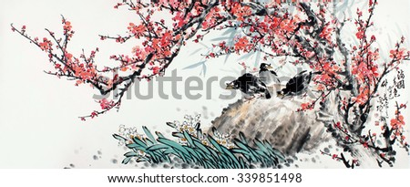 Plum Blossom on.Traditional Chinese Painting. - stock photo