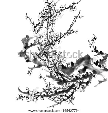 Plum Blossom on White Background-Traditional Chinese Painting.
