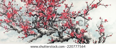 Plum Blossom on White Background.Traditional Chinese Painting.  - stock photo