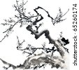 Plum Blossom -Traditional Chinese Painting. - stock photo