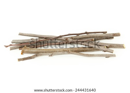 Plum branches over white background, A heap of plum branches over white background - stock photo