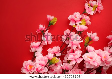 Plum flowers with Red Packet for chinese new year - stock photo