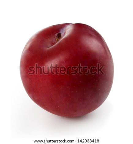 Plum isolated on white - stock photo