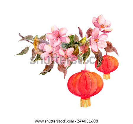 Plum or peach flower with red paper lantern. Chinese new year card. Watercolor - stock photo