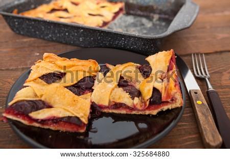 Plum Pie - stock photo