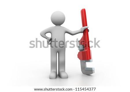 plumber holding a big Pipe Wrench.