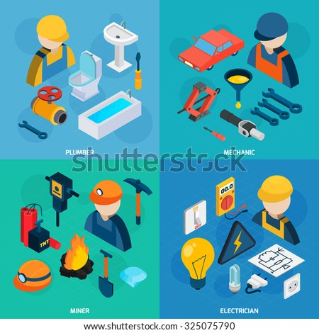 Plumber mechanic electric and miner profession man with tools isometric icons set isolated  illustration - stock photo