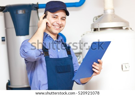 Plumber on the phone