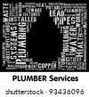 Plumber Services info-text (word cloud) composed in the shape of water drop - stock vector