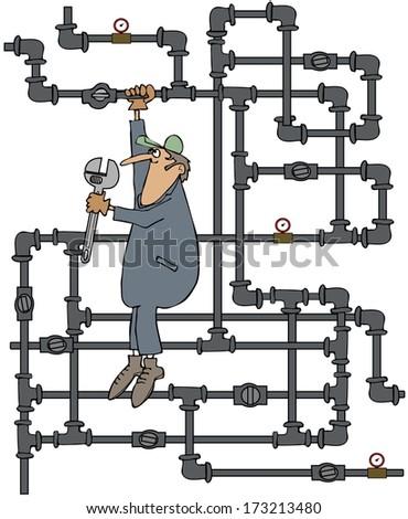Plumber turning a valve - stock photo