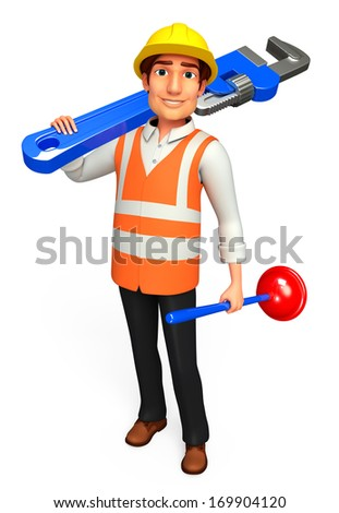 Plumber with toilet plunger and wrench