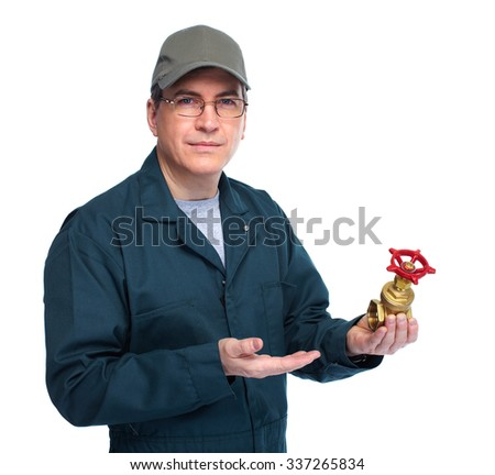 Plumber with water tap. Isolated white background. - stock photo