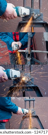 Plumber working with grinder. Grinder at work. Side view of plumber working with grinder. Metal pipe at rack and sparks. Close up of hand holding grinder. Grinder making a lot of red sparks