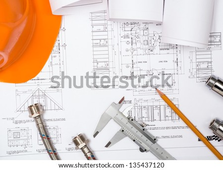 Plumbing And Drawings Are On The Desktop Workspace Engineer