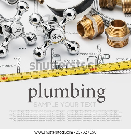 plumbing and tools on a gray background. Empty white space for sample background and text - stock photo