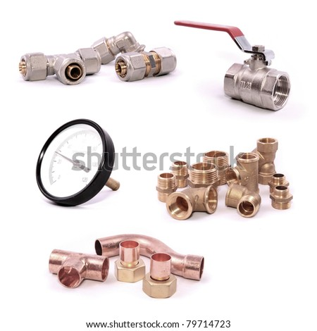 Plumbing collection isolated on white background - stock photo